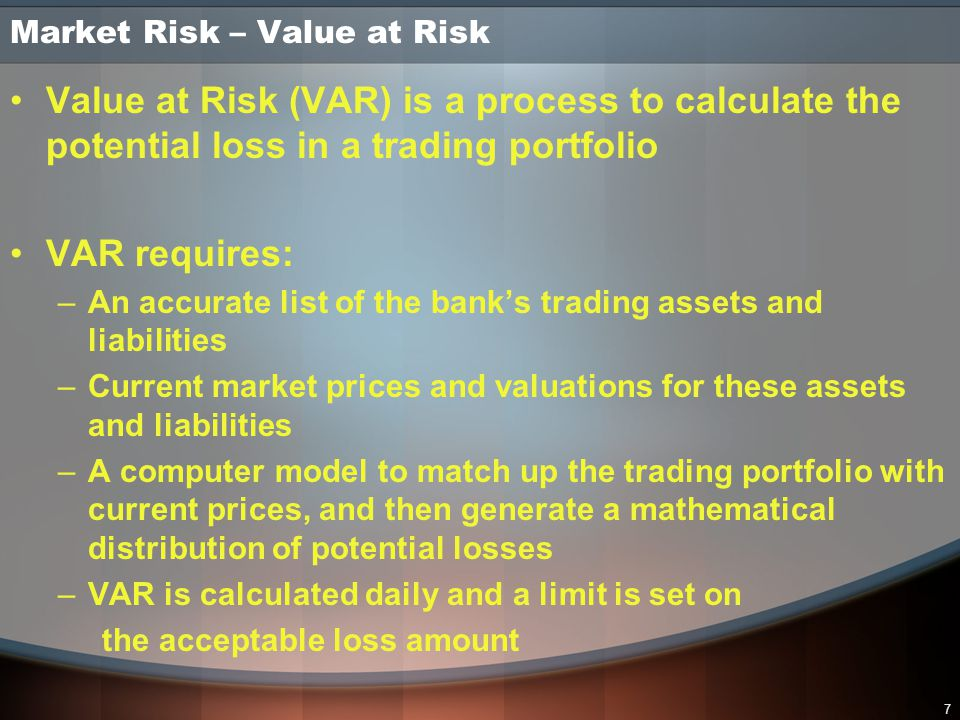 28 Portfolio Valuation In a sophisticated credit risk management process, all credits are treated on a portfolio basis In a portfolio, some credit risks increase total exposure, and some provide offsets Proper portfolio review identifies unacceptable concentrations of risk (by industry, product, maturity, etc.) Ideally, credit reserves are set for the portfolio, not for the sum of all individual credit exposures Effective Risk Management Process