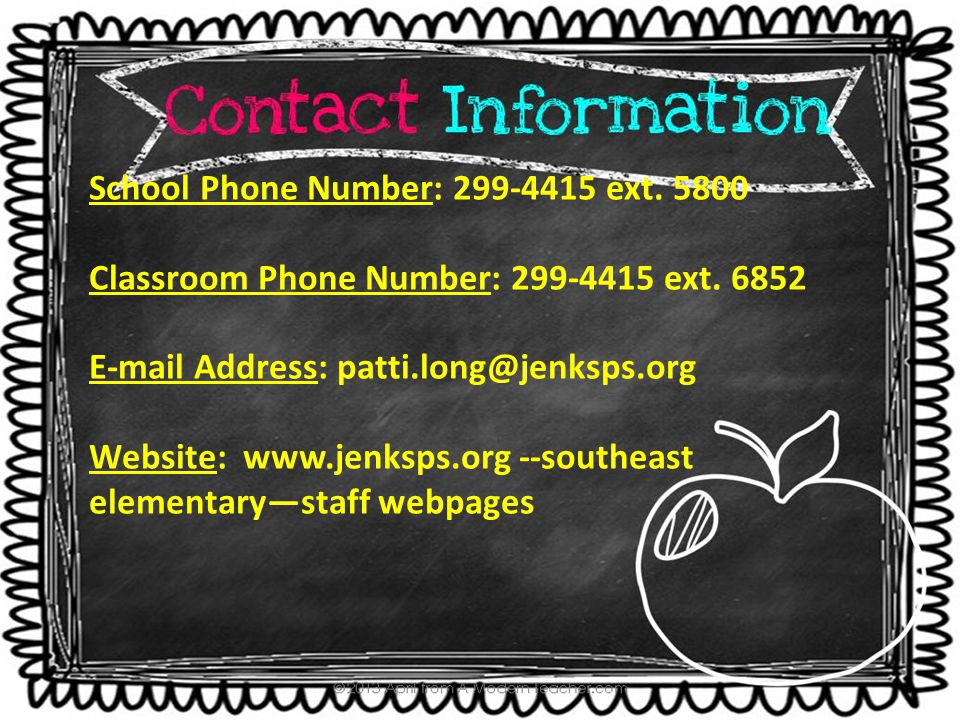 School Phone Number: 299-4415 ext. 5800 Classroom Phone Number: 299-4415 ext. 6852 E-mail Address: patti.long@jenksps.org Website: www.jenksps.org --s