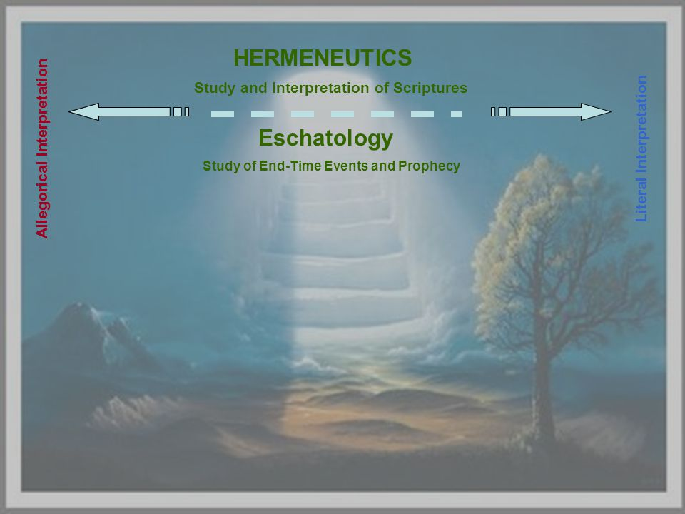 HERMENEUTICS Study and Interpretation of Scriptures Allegorical Interpretation Eschatology Study of End-Time Events and Prophecy Literal Interpretation Allegorical Interpretation
