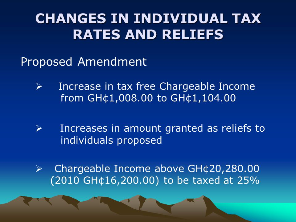 CHANGES IN INDIVIDUAL TAX RATES AND RELIEFS Proposed Amendment  Increase in tax free Chargeable Income from GH¢1,008.00 to GH¢1,104.00  Increases in amount granted as reliefs to individuals proposed  Chargeable Income above GH¢20,280.00 (2010 GH¢16,200.00) to be taxed at 25%