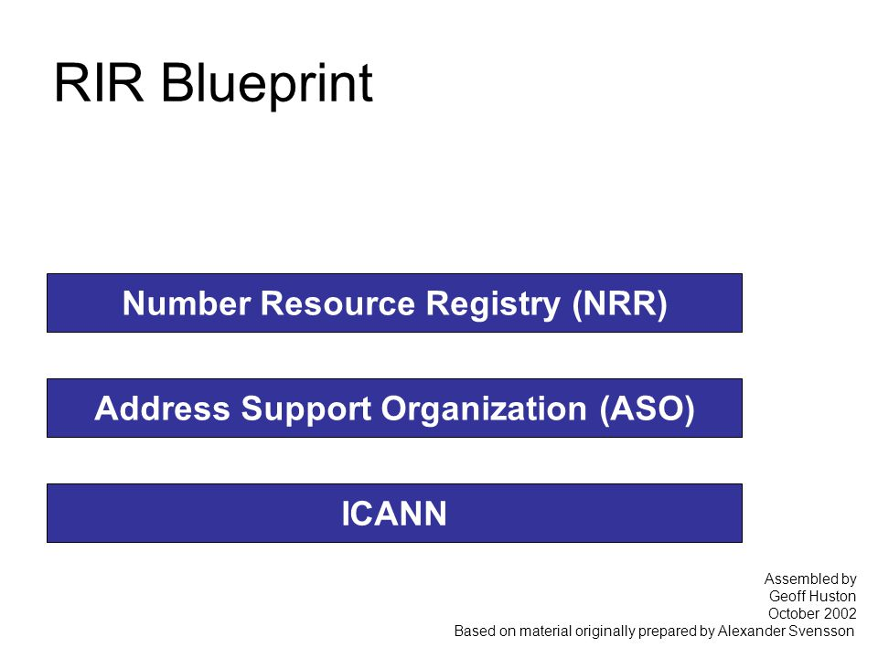 RIR Blueprint Number Resource Registry (NRR) Address Support Organization (ASO) ICANN Assembled by Geoff Huston October 2002 Based on material originally prepared by Alexander Svensson