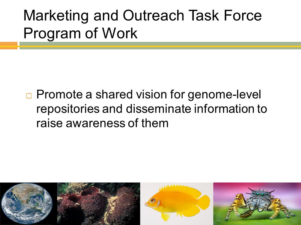 Marketing and Outreach Task Force Program of Work  Promote a shared vision for genome-level repositories and disseminate information to raise awarene