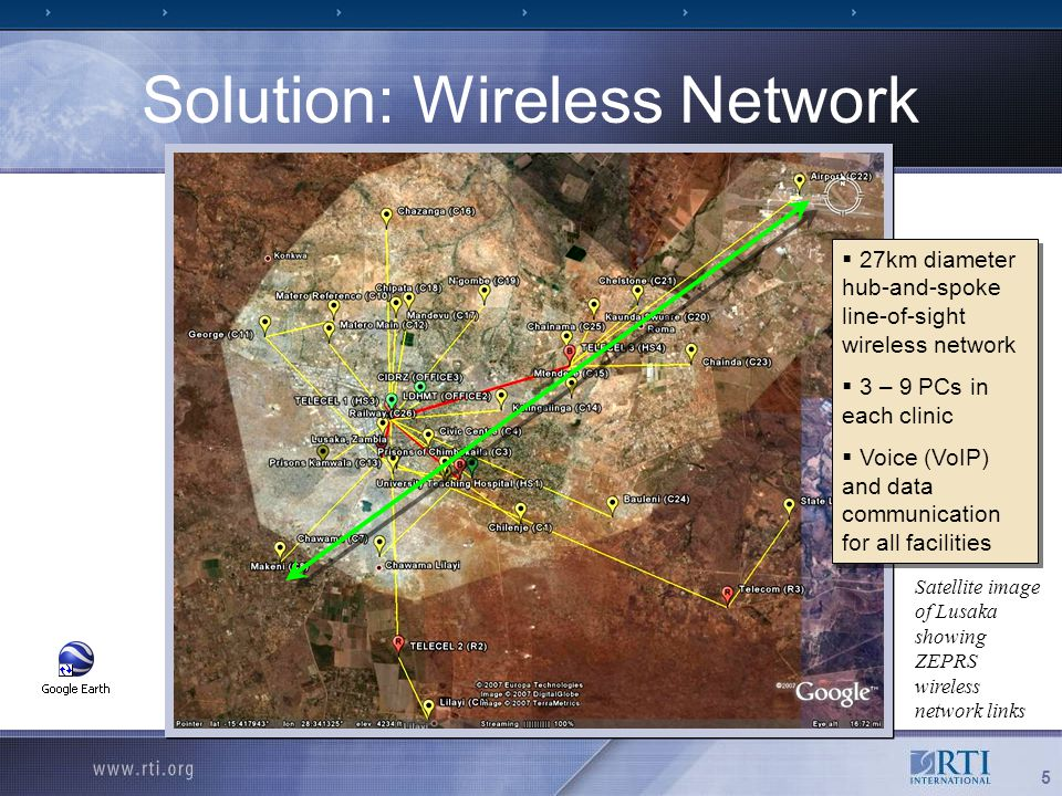 5 Solution: Wireless Network Satellite image of Lusaka showing ZEPRS wireless network links  27km diameter hub-and-spoke line-of-sight wireless network  3 – 9 PCs in each clinic  Voice (VoIP) and data communication for all facilities  27km diameter hub-and-spoke line-of-sight wireless network  3 – 9 PCs in each clinic  Voice (VoIP) and data communication for all facilities