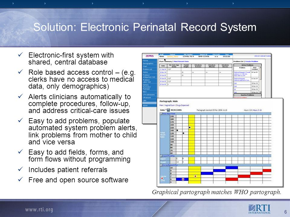 6 Solution: Electronic Perinatal Record System Electronic-first system with shared, central database Role based access control – (e.g.