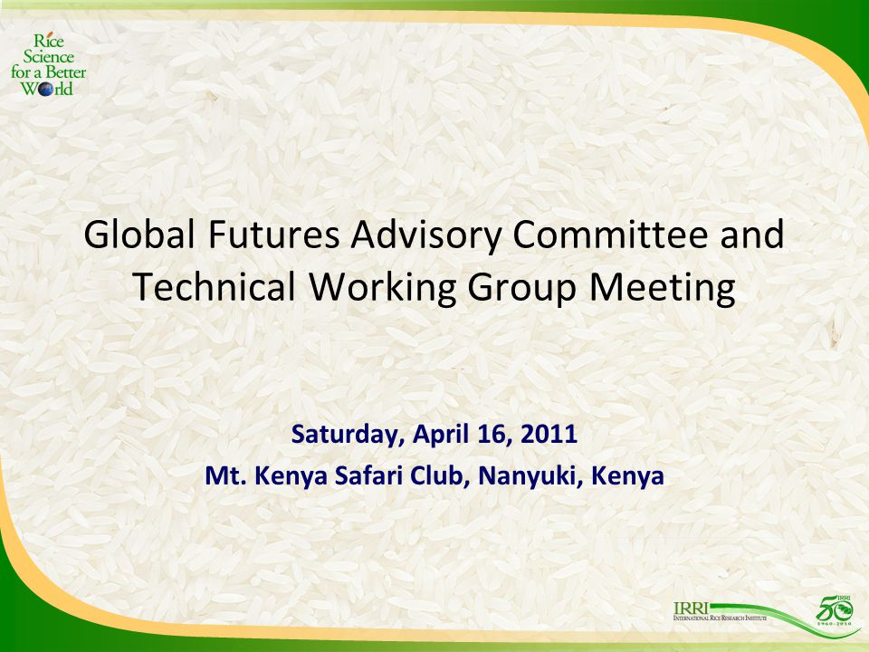 Global Futures Advisory Committee and Technical Working Group Meeting Saturday, April 16, 2011 Mt.