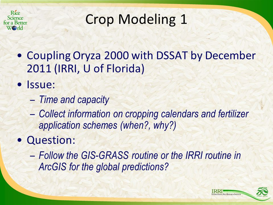 Crop Modeling 1 Coupling Oryza 2000 with DSSAT by December 2011 (IRRI, U of Florida) Issue: – Time and capacity – Collect information on cropping calendars and fertilizer application schemes (when?, why?) Question: – Follow the GIS-GRASS routine or the IRRI routine in ArcGIS for the global predictions?