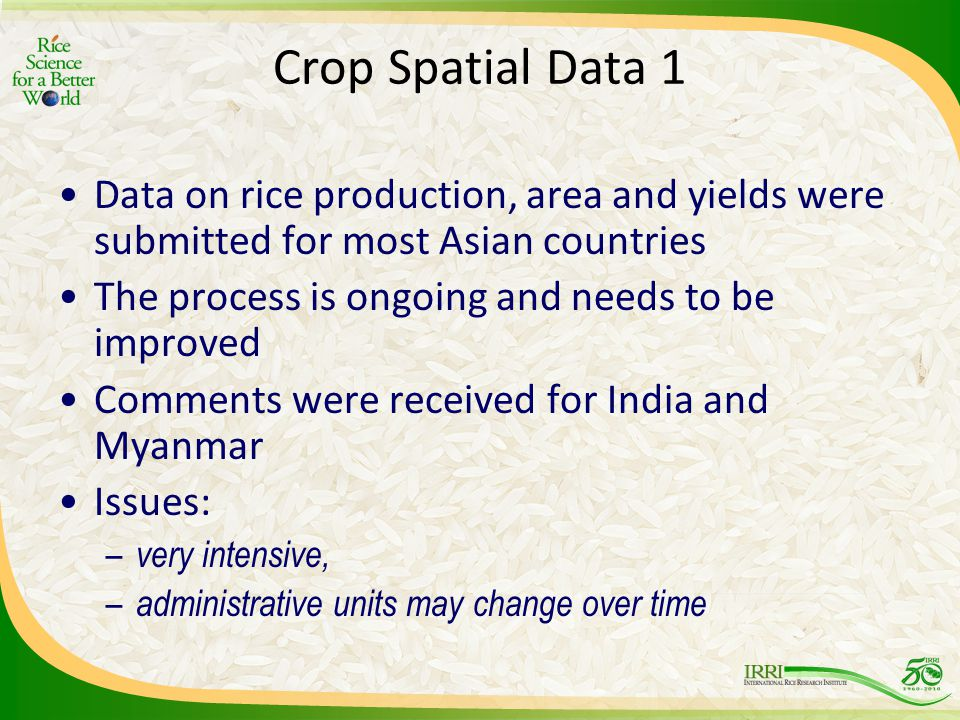 Crop Spatial Data 1 Data on rice production, area and yields were submitted for most Asian countries The process is ongoing and needs to be improved Comments were received for India and Myanmar Issues: – very intensive, – administrative units may change over time