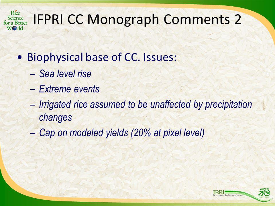 IFPRI CC Monograph Comments 2 Biophysical base of CC.