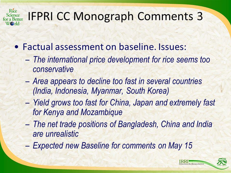IFPRI CC Monograph Comments 3 Factual assessment on baseline.