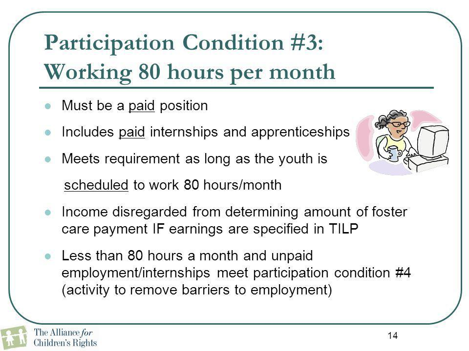 14 Participation Condition #3: Working 80 hours per month Must be a paid position Includes paid internships and apprenticeships Meets requirement as l