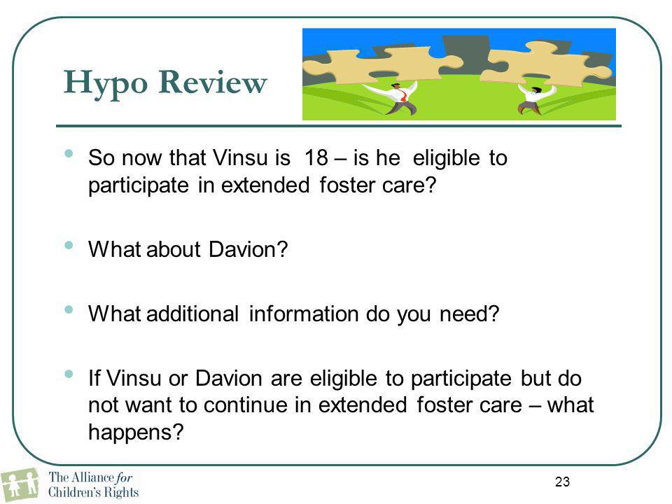 23 Hypo Review So now that Vinsu is 18 – is he eligible to participate in extended foster care? What about Davion? What additional information do you