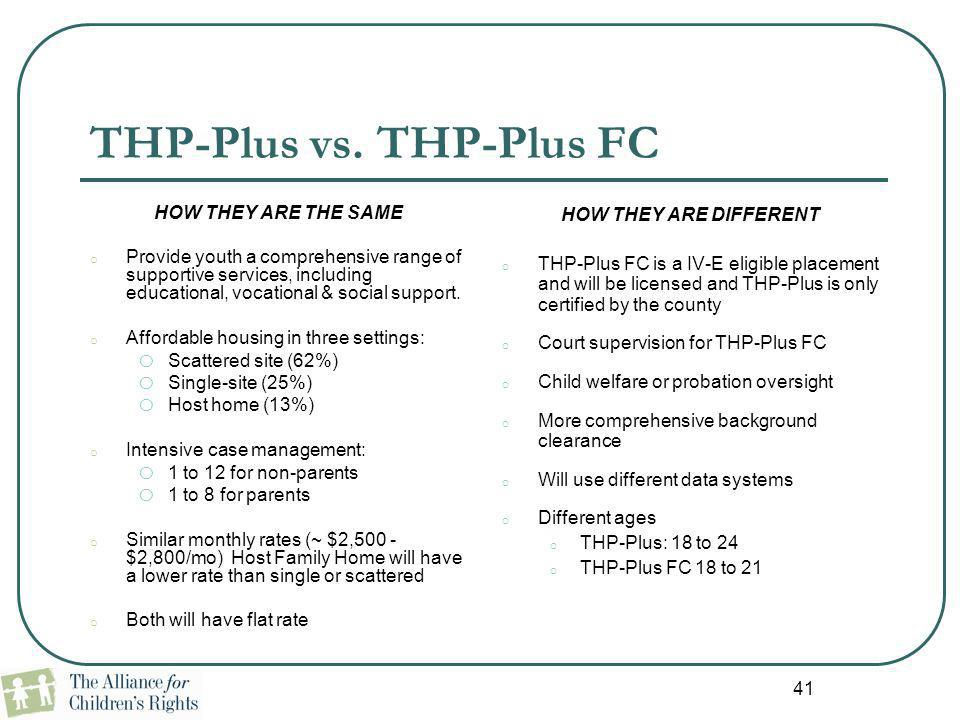 THP-Plus vs. THP-Plus FC HOW THEY ARE THE SAME o Provide youth a comprehensive range of supportive services, including educational, vocational & socia