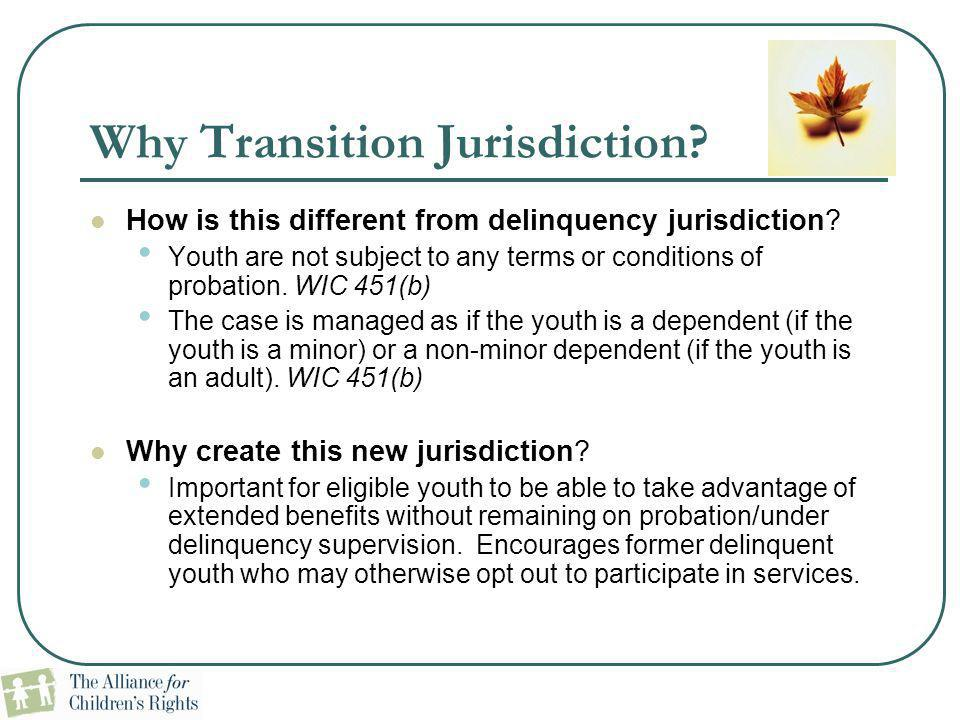 Why Transition Jurisdiction? How is this different from delinquency jurisdiction? Youth are not subject to any terms or conditions of probation. WIC 4