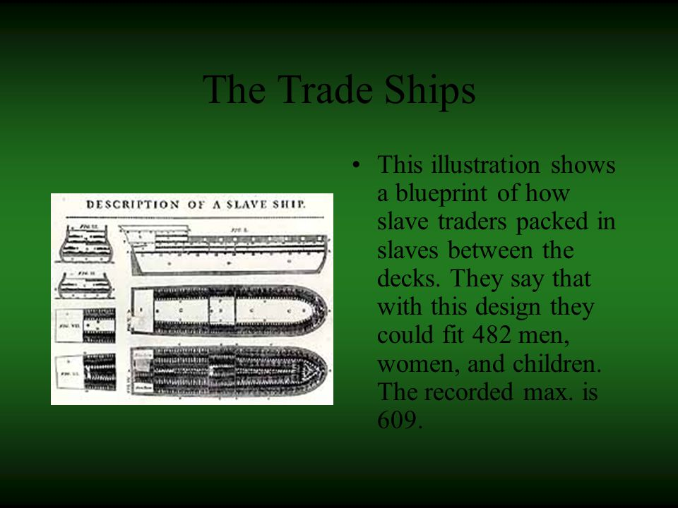The Trade Ships This illustration shows a blueprint of how slave traders packed in slaves between the decks.