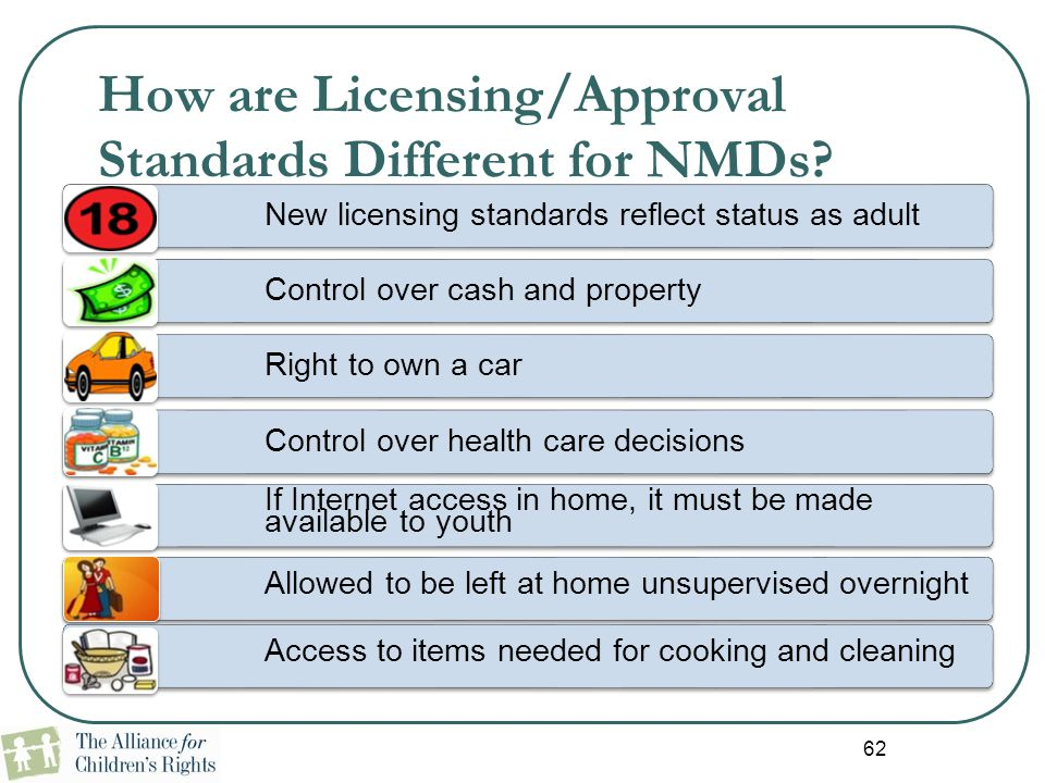 62 How are Licensing/Approval Standards Different for NMDs? New licensing standards reflect status as adult Control over cash and property Right to ow