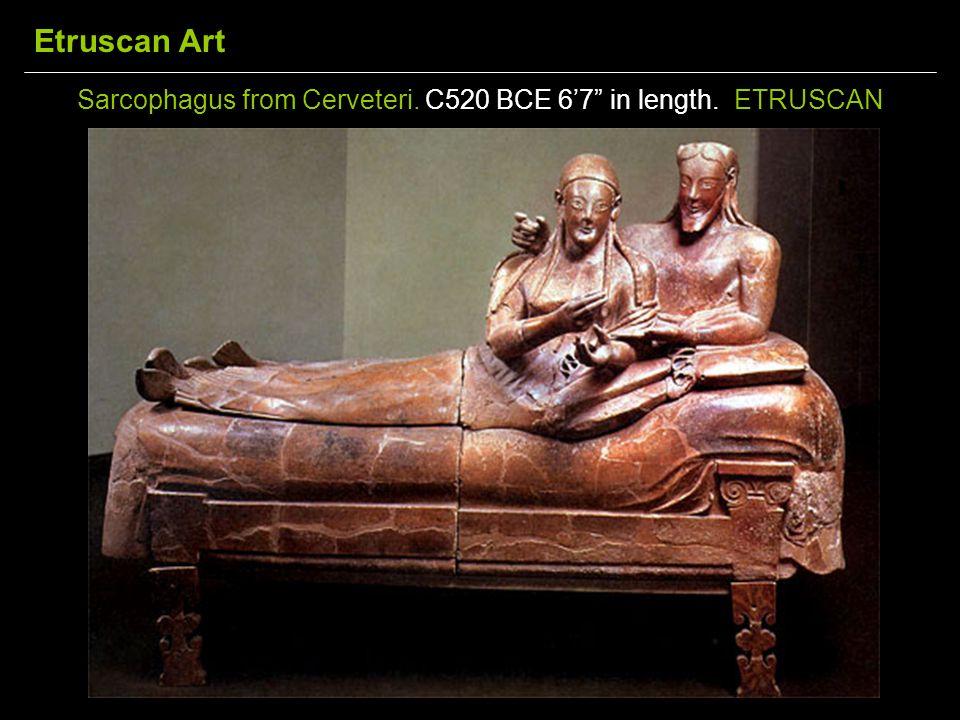 Sarcophagus from Cerveteri. C520 BCE 6'7 in length. ETRUSCAN Etruscan Art