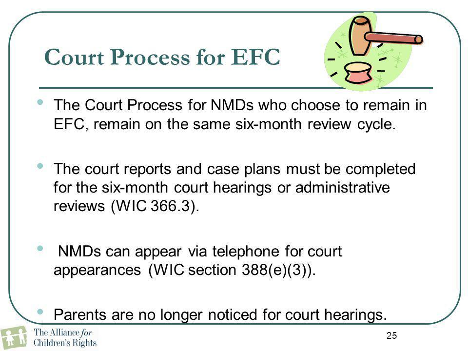 25 Court Process for EFC The Court Process for NMDs who choose to remain in EFC, remain on the same six-month review cycle. The court reports and case