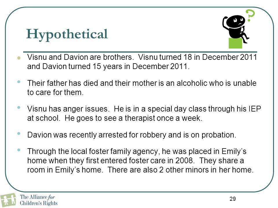 29 Hypothetical Visnu and Davion are brothers. Visnu turned 18 in December 2011 and Davion turned 15 years in December 2011. Their father has died and