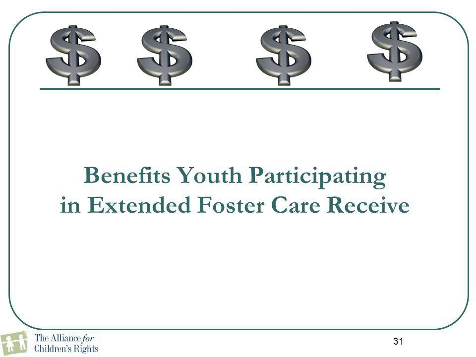 31 Benefits Youth Participating in Extended Foster Care Receive