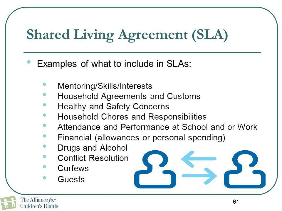 61 Shared Living Agreement (SLA) Examples of what to include in SLAs: Mentoring/Skills/Interests Household Agreements and Customs Healthy and Safety C