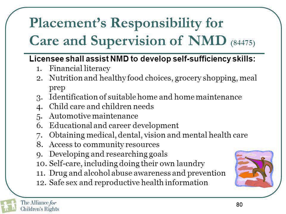 80 Licensee shall assist NMD to develop self-sufficiency skills: 1.Financial literacy 2.Nutrition and healthy food choices, grocery shopping, meal pre