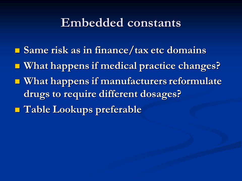 Embedded constants Same risk as in finance/tax etc domains Same risk as in finance/tax etc domains What happens if medical practice changes.