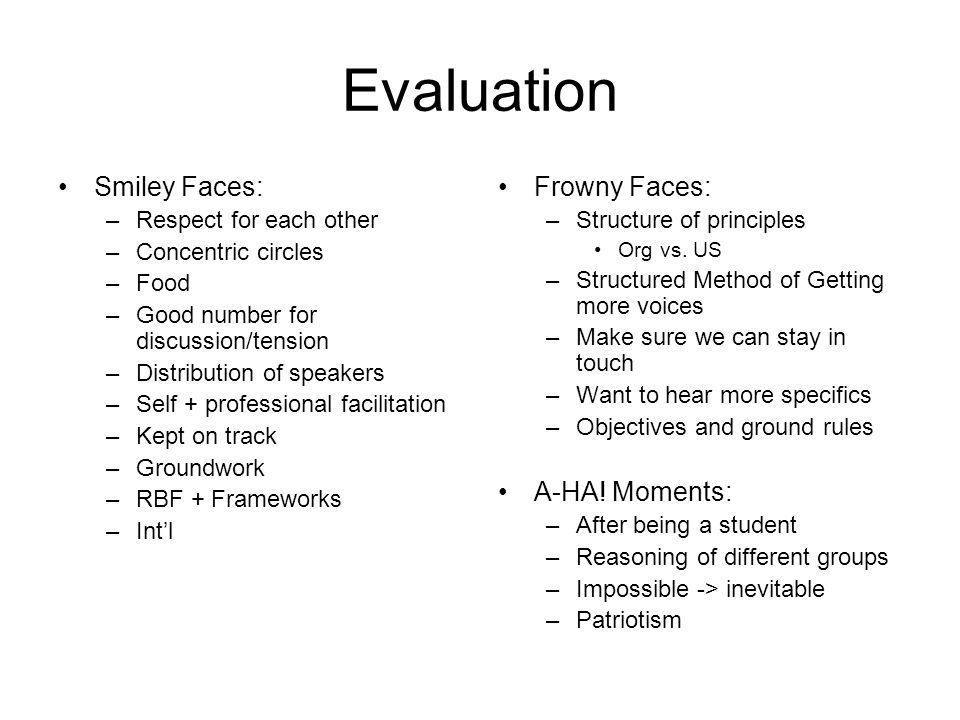 Evaluation Smiley Faces: –Respect for each other –Concentric circles –Food –Good number for discussion/tension –Distribution of speakers –Self + professional facilitation –Kept on track –Groundwork –RBF + Frameworks –Int'l Frowny Faces: –Structure of principles Org vs.