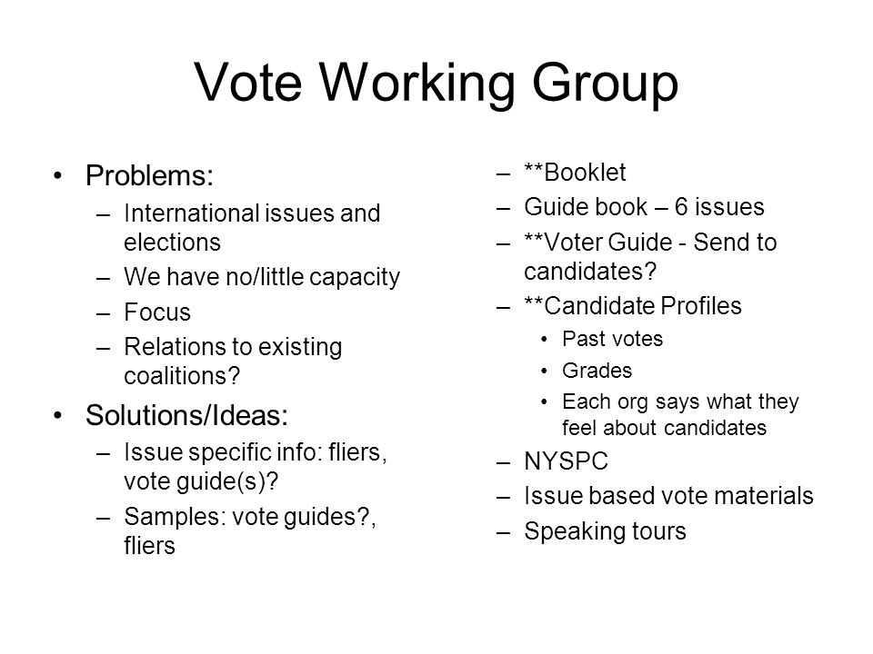 Vote Working Group Problems: –International issues and elections –We have no/little capacity –Focus –Relations to existing coalitions.
