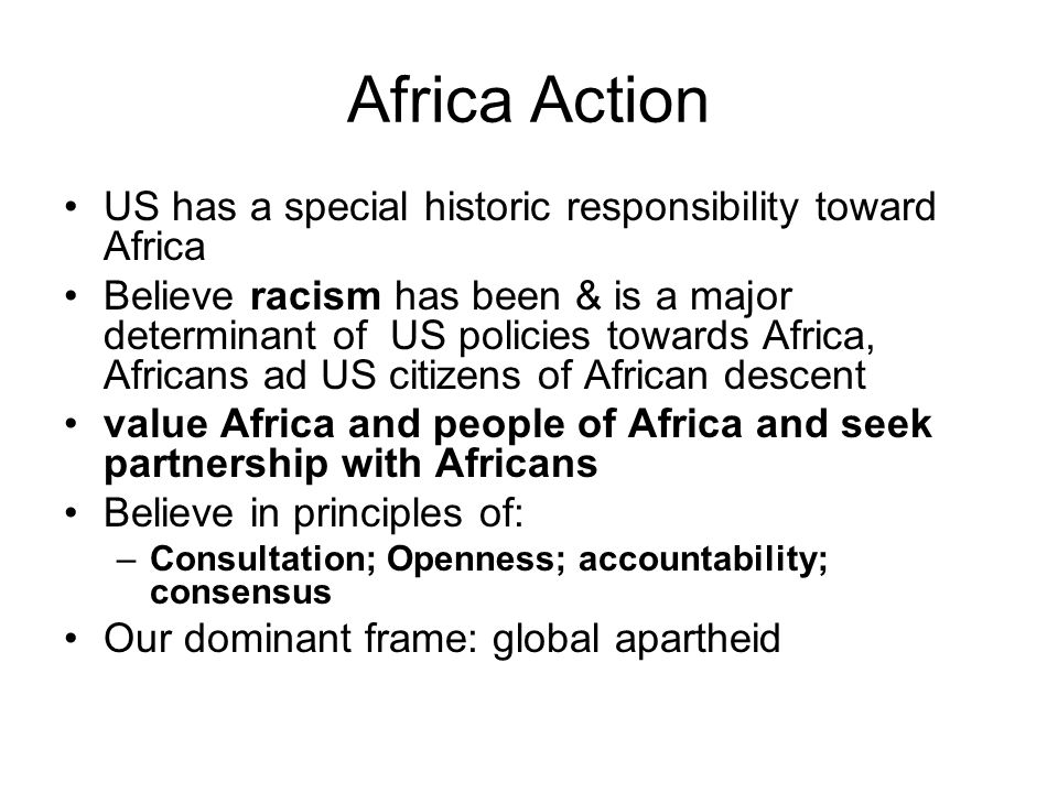 Africa Action US has a special historic responsibility toward Africa Believe racism has been & is a major determinant of US policies towards Africa, Africans ad US citizens of African descent value Africa and people of Africa and seek partnership with Africans Believe in principles of: –Consultation; Openness; accountability; consensus Our dominant frame: global apartheid
