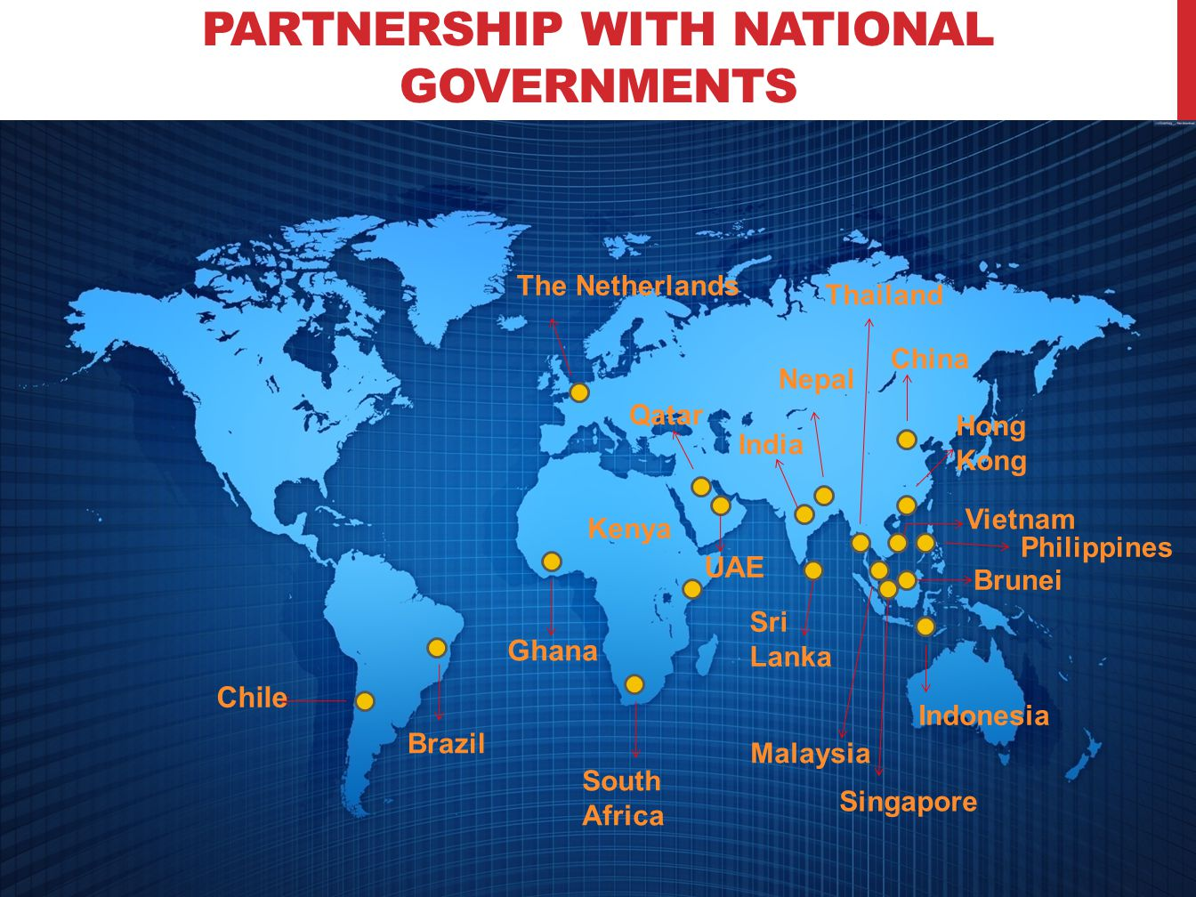 PARTNERSHIP WITH NATIONAL GOVERNMENTS UAE Qatar Nepal Sri Lanka The Netherlands South Africa Brazil India Indonesia Singapore Malaysia China Hong Kong Thailand Brunei Vietnam Philippines Chile Kenya Ghana
