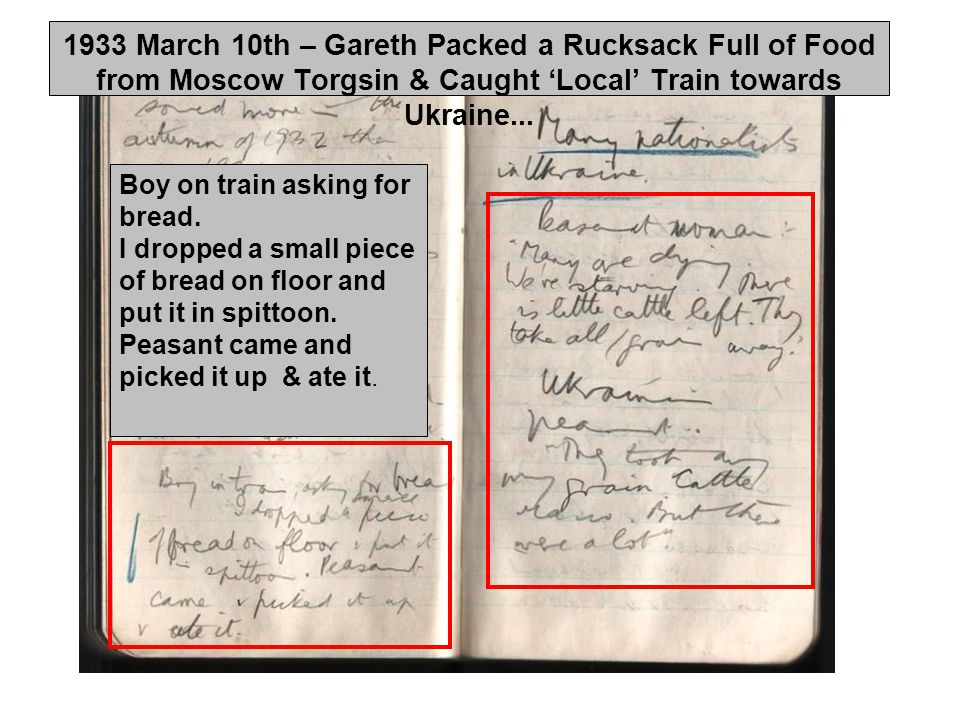 1933 March 10th – Gareth Packed a Rucksack Full of Food from Moscow Torgsin & Caught 'Local' Train towards Ukraine...