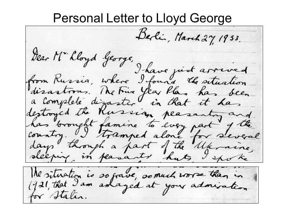 Personal Letter to Lloyd George