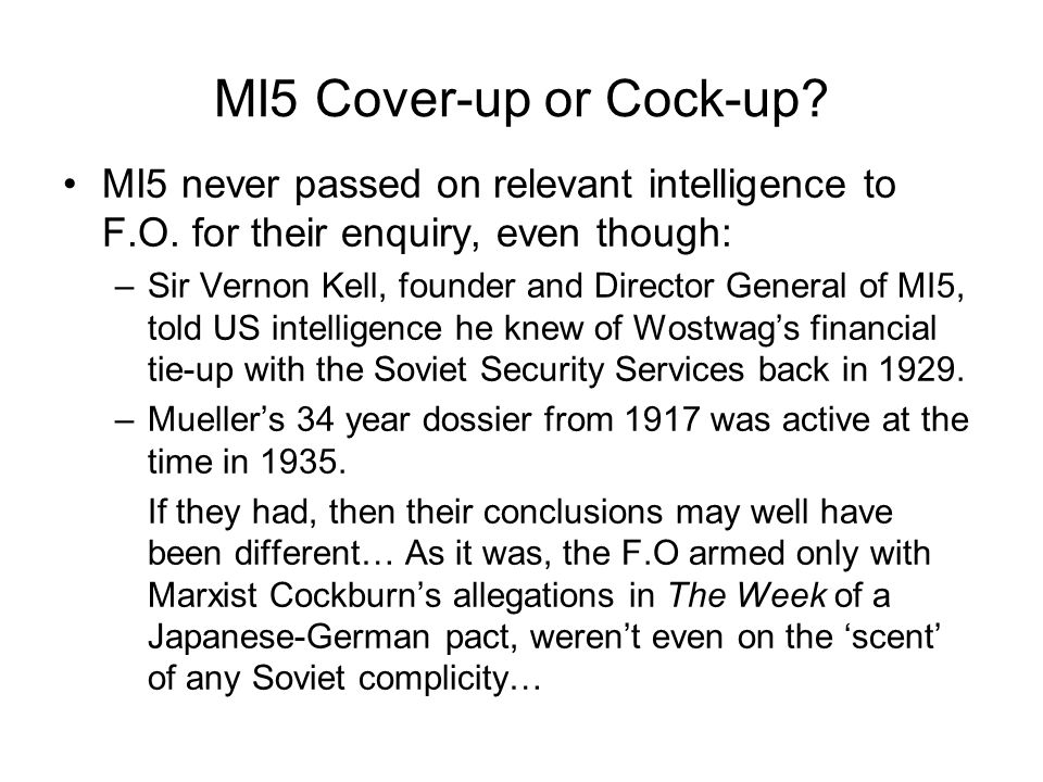 MI5 Cover-up or Cock-up. MI5 never passed on relevant intelligence to F.O.
