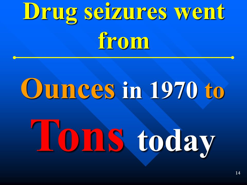 13 Drug purity increased from 1½ % in 1970 to 60 % today