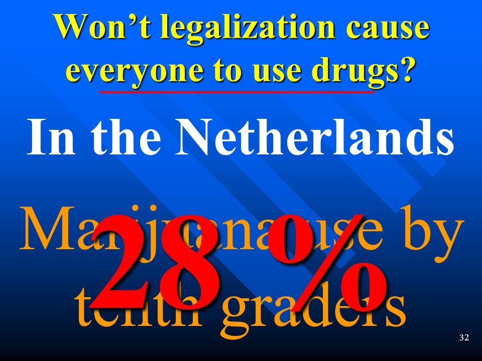 31 Won't legalization cause everyone to use drugs.