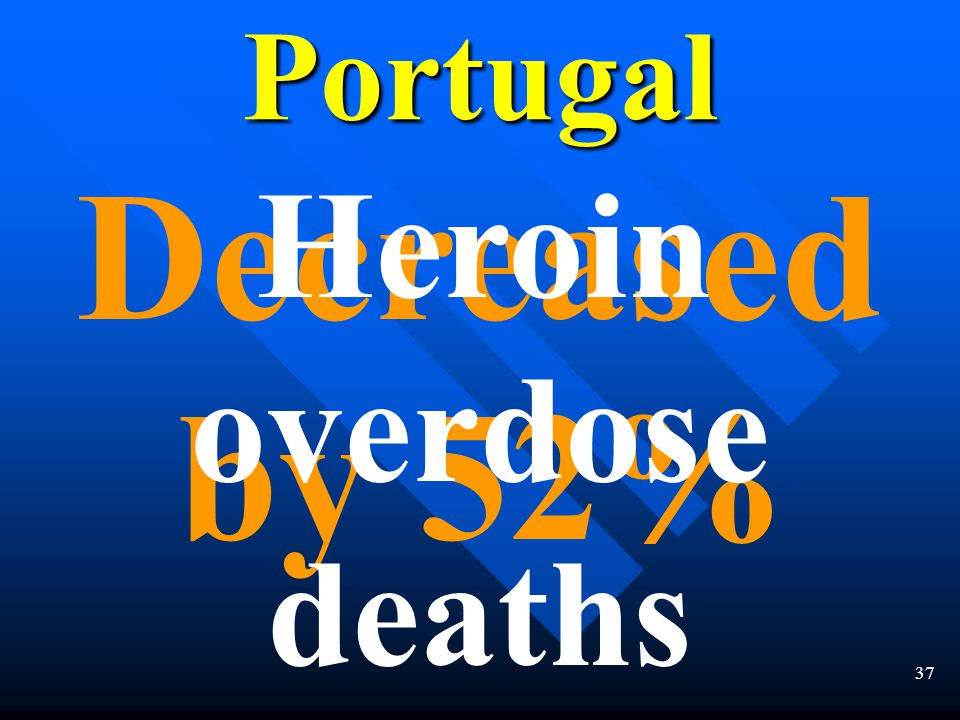 36 Decreased by 22% drug use by 16 to 18 year oldsPortugal