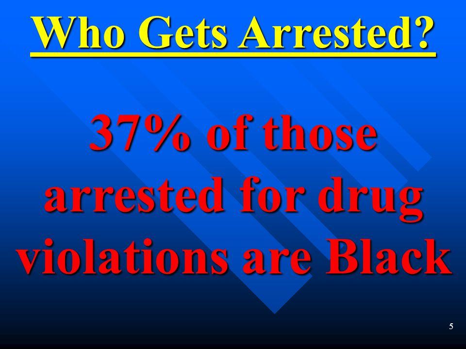 5 Who Gets Arrested? 37% of those arrested for drug violations are Black