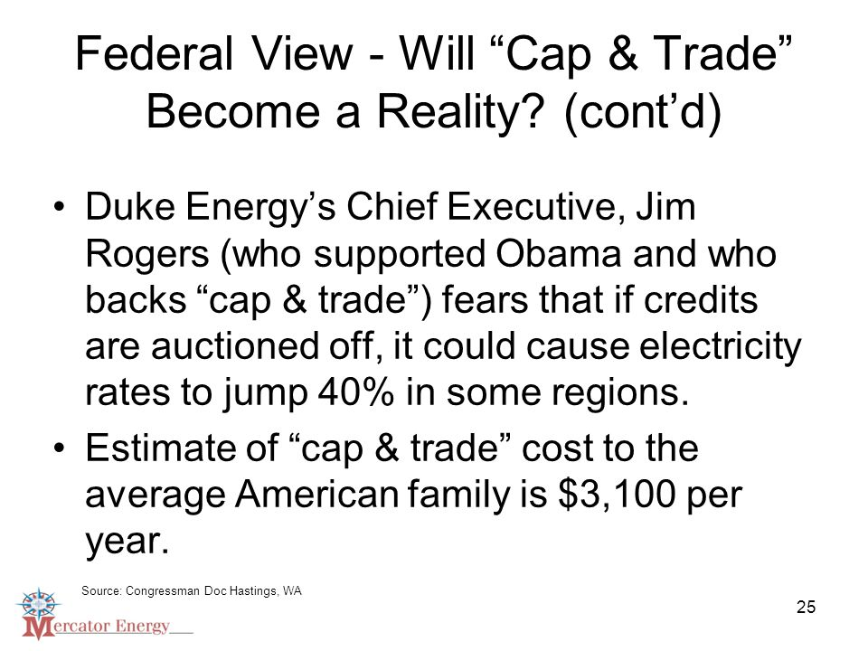 25 Federal View - Will Cap & Trade Become a Reality.
