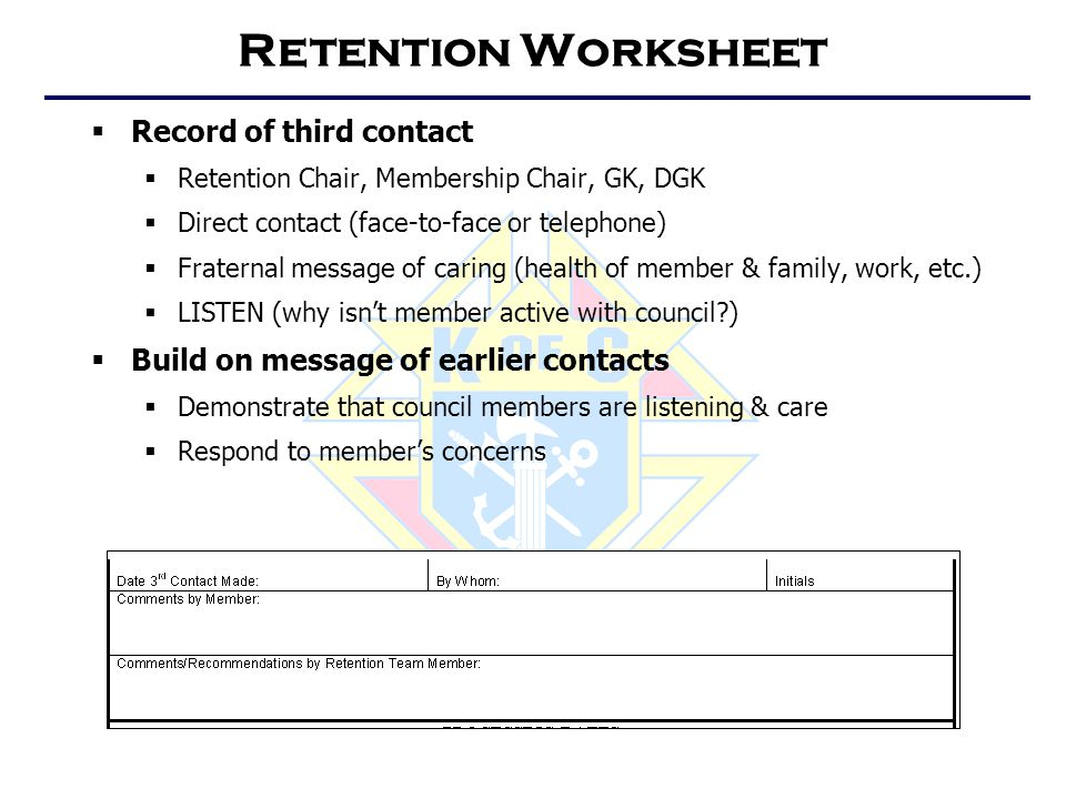 Retention Worksheet  Record of third contact  Retention Chair, Membership Chair, GK, DGK  Direct contact (face-to-face or telephone)  Fraternal me