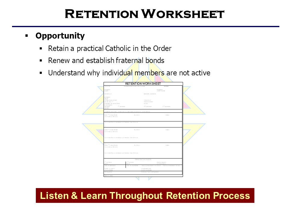 Retention Worksheet  Opportunity  Retain a practical Catholic in the Order  Renew and establish fraternal bonds  Understand why individual members are not active Listen & Learn Throughout Retention Process