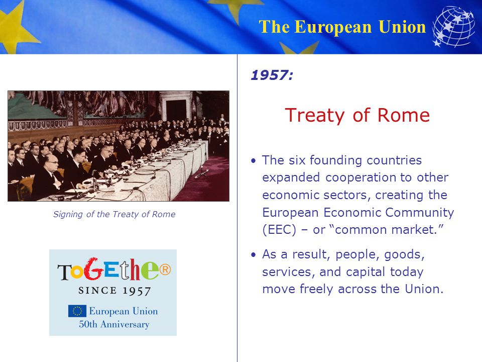 The European Union Treaty of Rome The six founding countries expanded cooperation to other economic sectors, creating the European Economic Community