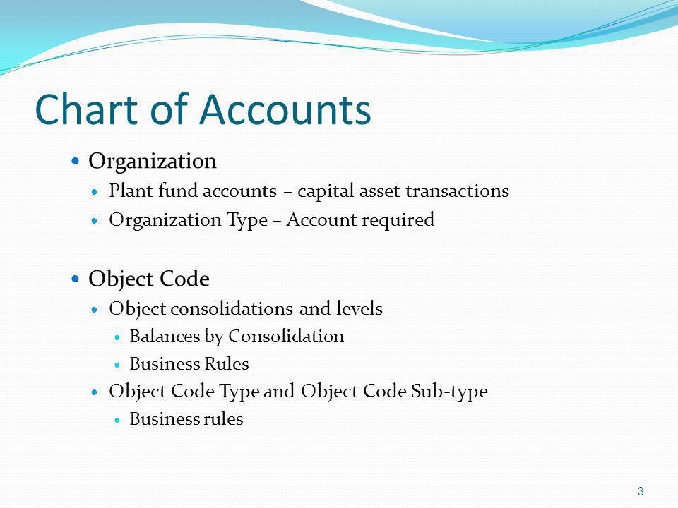 Chart of Accounts Organization Plant fund accounts – capital asset transactions Organization Type – Account required Object Code Object consolidations and levels Balances by Consolidation Business Rules Object Code Type and Object Code Sub-type Business rules 3