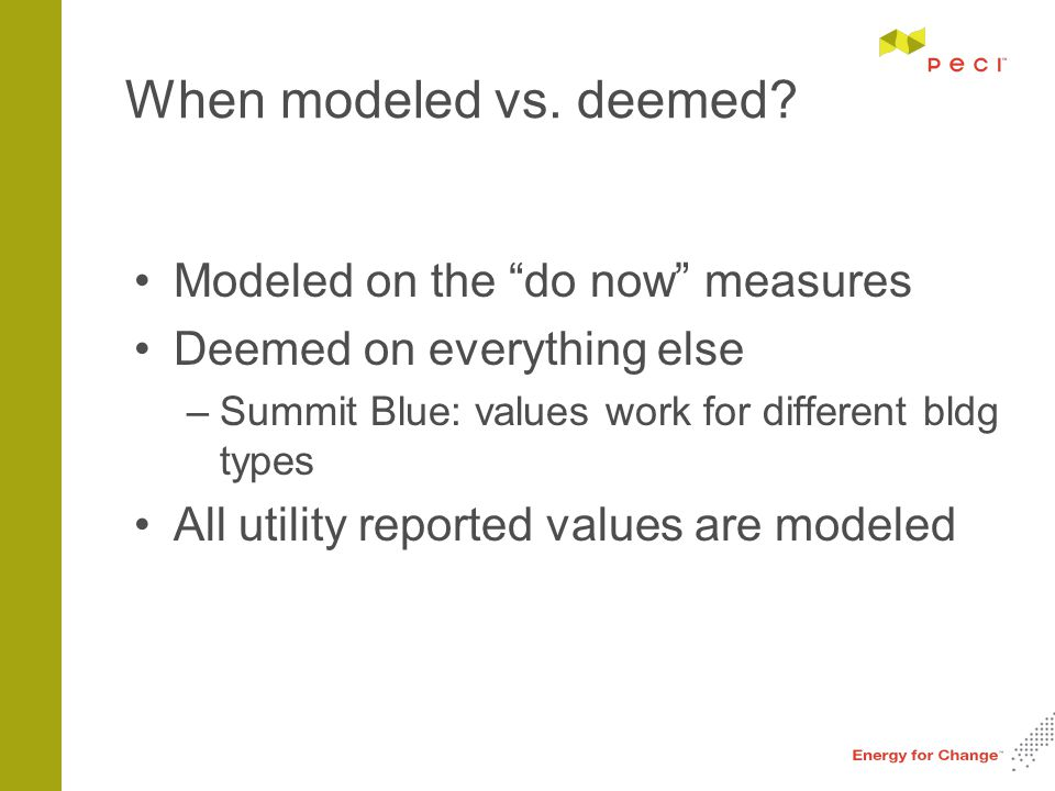 When modeled vs.deemed.