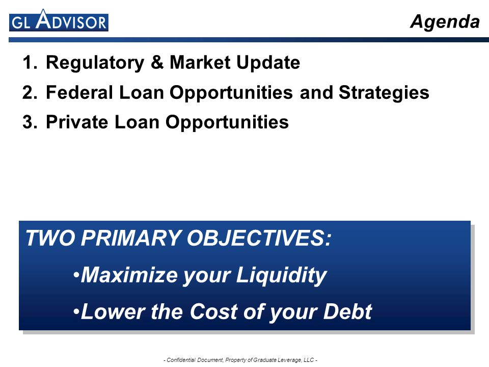 - Confidential Document, Property of Graduate Leverage, LLC - Regulatory & Market Update New Income-Based Repayment (IBR) plan provides low payment and interest subsidies (July 1, 2009) Budget Control Act of 2011 eliminates Subsidized Stafford loans for graduate students (July 1, 2012) Improvements in private student loan markets may present opportunities for certain borrowers