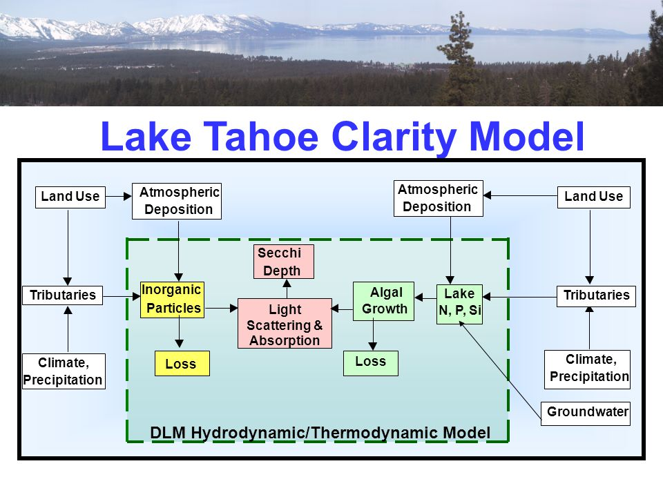Lake Tahoe Clarity Model DLM Hydrodynamic/Thermodynamic Model Tributaries Climate, Precipitation Land Use Atmospheric Deposition Algal Growth Lake N,