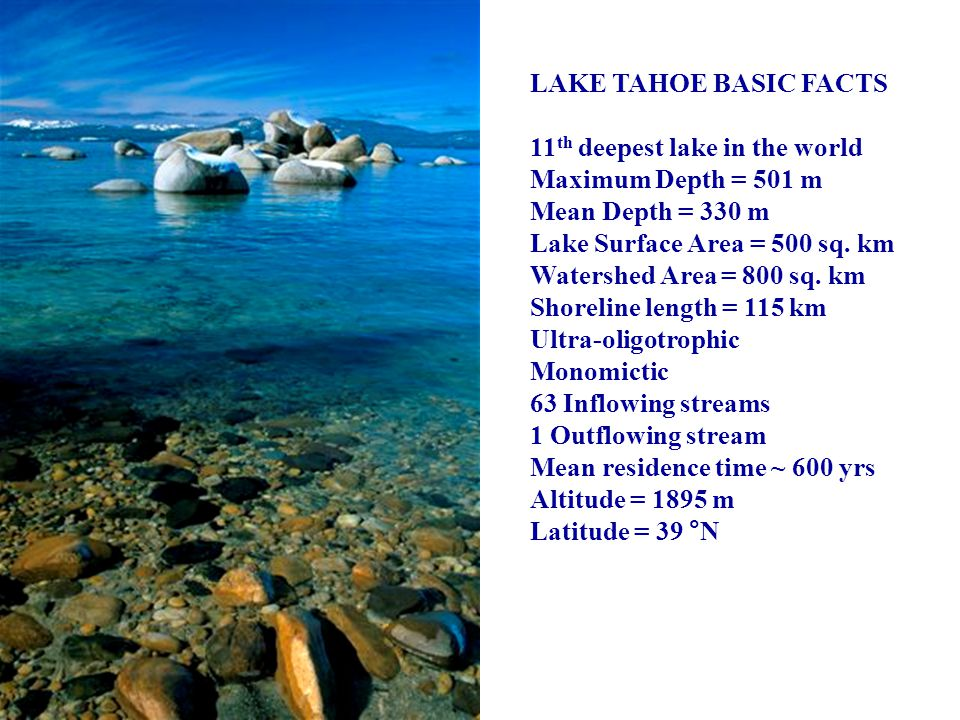 Lake Tahoe Clarity Model DLM Hydrodynamic/Thermodynamic Model Tributaries Climate, Precipitation Land Use Atmospheric Deposition Algal Growth Lake N, P, Si Inorganic Particles Loss Secchi Depth Light Scattering & Absorption Groundwater Tributaries Climate, Precipitation Land Use Atmospheric Deposition
