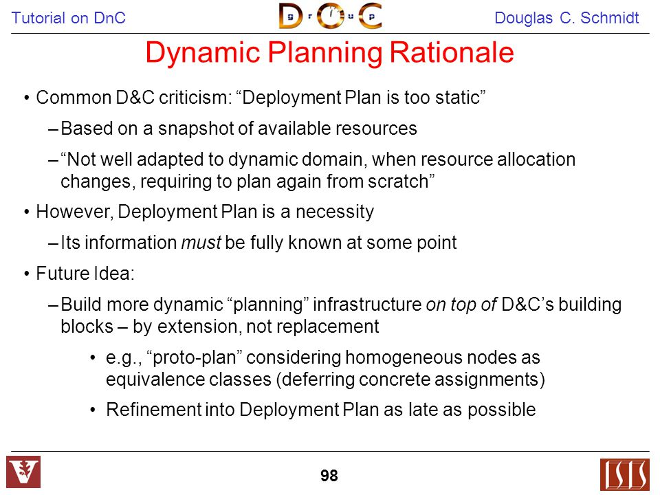 "Tutorial on DnC Douglas C. Schmidt 98 Dynamic Planning Rationale Common D&C criticism: ""Deployment Plan is too static"" –Based on a snapshot of availab"