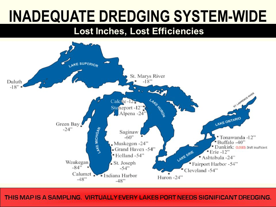 THIS MAP IS A SAMPLING. VIRTUALLY EVERY LAKES PORT NEEDS SIGNIFICANT DREDGING. Lost Inches, Lost Efficiencies INADEQUATE DREDGING SYSTEM-WIDE