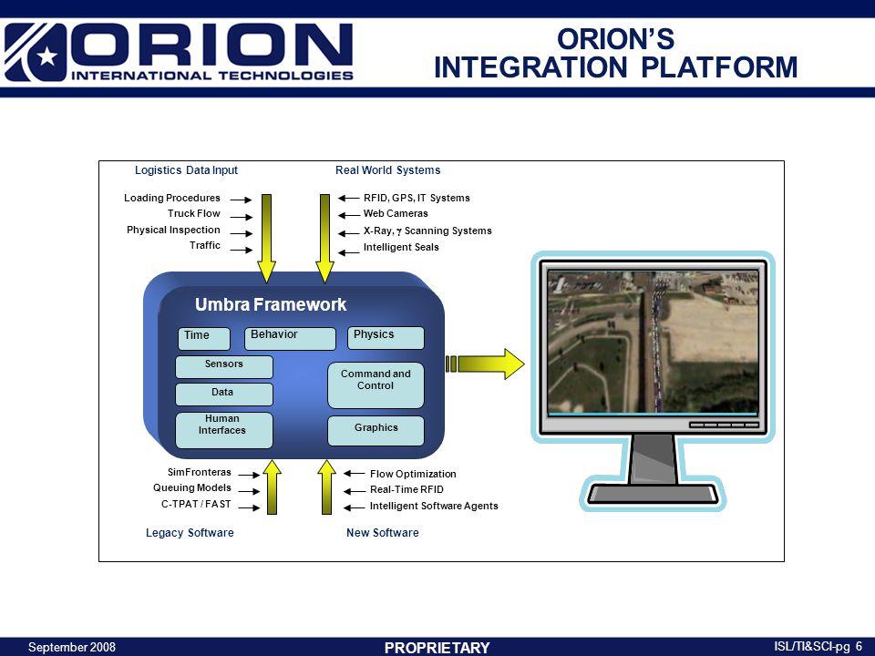 PROPRIETARY ORION'S INTEGRATION PLATFORM September 2008 ISL/TI&SCI-pg 7 Umbra facilitates the analysis process…