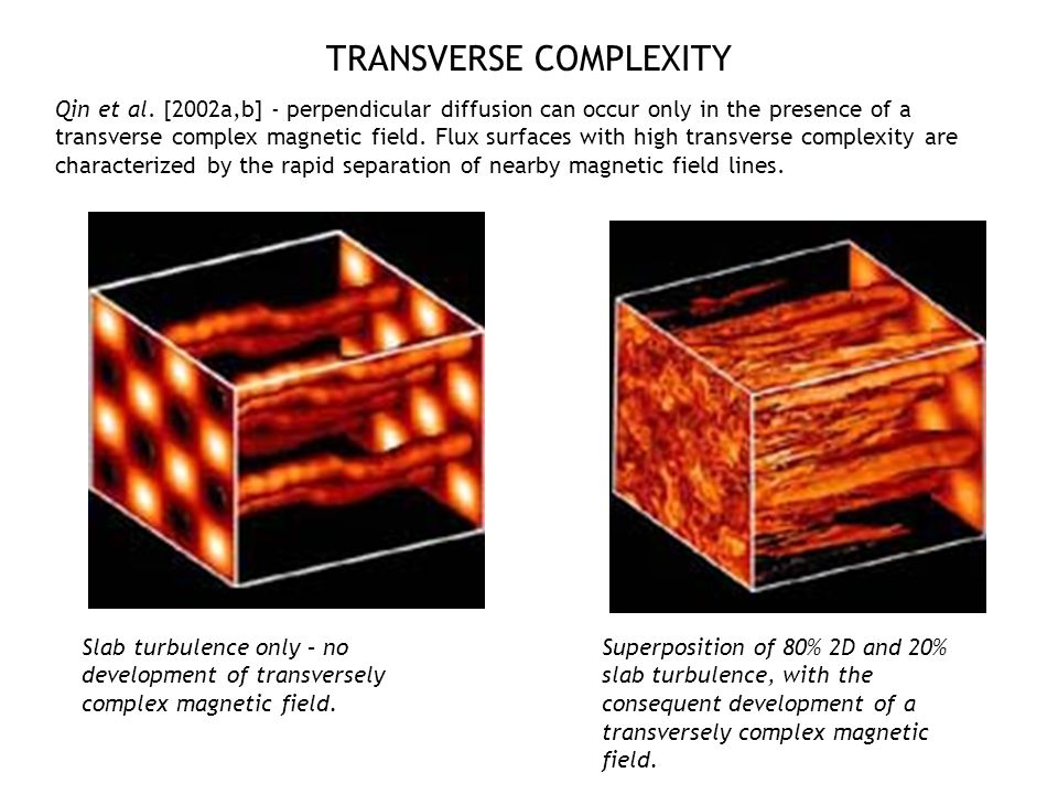 TRANSVERSE COMPLEXITY Qin et al. [2002a,b] - perpendicular diffusion can occur only in the presence of a transverse complex magnetic field. Flux surfa